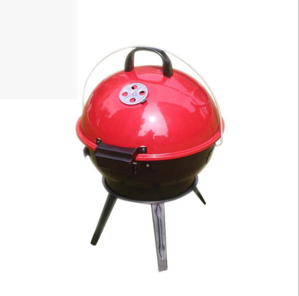 Zzh Camping Firebowl Mit Grill, Klappbeine Und Tragetasche - Rot