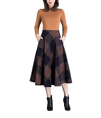 448b3593e46b Xiongfeng® Damen Lang Wollrock Faltenrock Tartan Rock mit Taschen  Amazon.de   Bekleidung