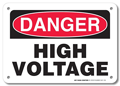 """Danger High Voltage Rectangular Electrical Sign by My Sign Center - Rust Free, UV Coated and Weatherproof .040 Aluminum - Rounded Corners and Pre-Drilled Holes - 7"""" x 10"""" - A81-106AL"""
