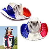 American Cowboy Hats 2 Pack - Red White and Blue Patriotic Cowboy Hat - Party Favor Hats Set of 2 - Sequin Covered American Colors Themed Raving Party Hats