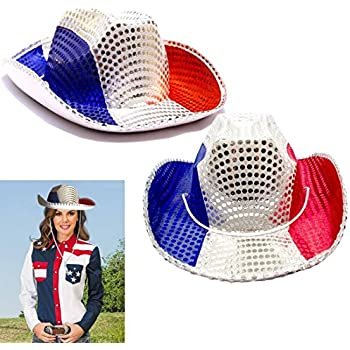 Hat - American Cowboy Hat Pack - Red White and Blue Patriotic Cowboy Hat -  Party Favor Hat- Sequin Covered American Colors Themed Raving Party Hats 1a84c74ba374