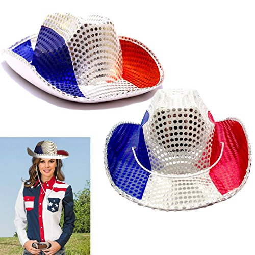 Current Event Costume Ideas (American Cowboy Hats 2 Pack - Red White and Blue Patriotic Cowboy Hat - Party Favor Hats Set of 2 - Sequin Covered American Colors Themed Raving Party Hats)