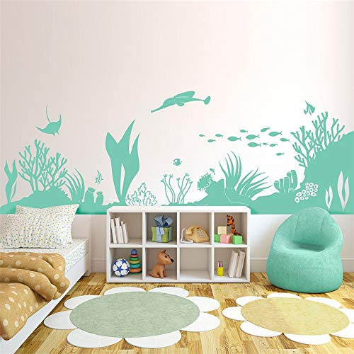 Vinly Art Decal Words Quotes Under The Sea Coral Reef Sealife Scene