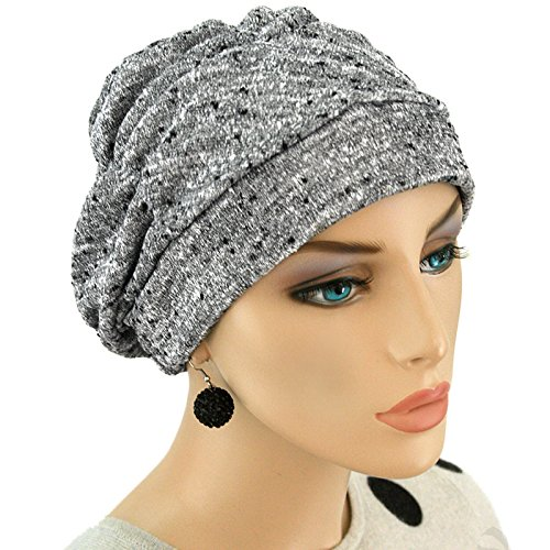 Hats for You Women's Shirred Chemo Cap, Salt and Paper, One Size -