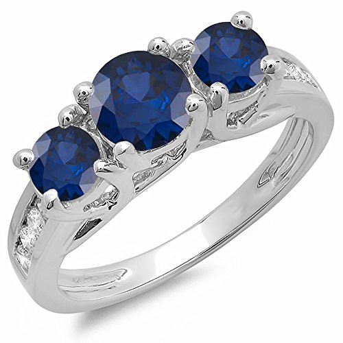 10K White Gold Round Blue Sapphire & White Diamond Ladies 3 Stone Engagement Bridal Ring (Size (3 Stone Diamond Ring Mounting)