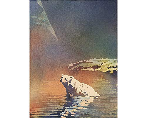 Poured watercolor painting of polar bear resting in water. Polar bear art. Watercolor polar bear ()