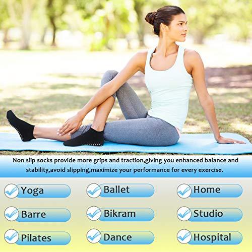 Yoga Socks for Women Non-Skid Socks with Grips Anti-Skid Pilates Socks