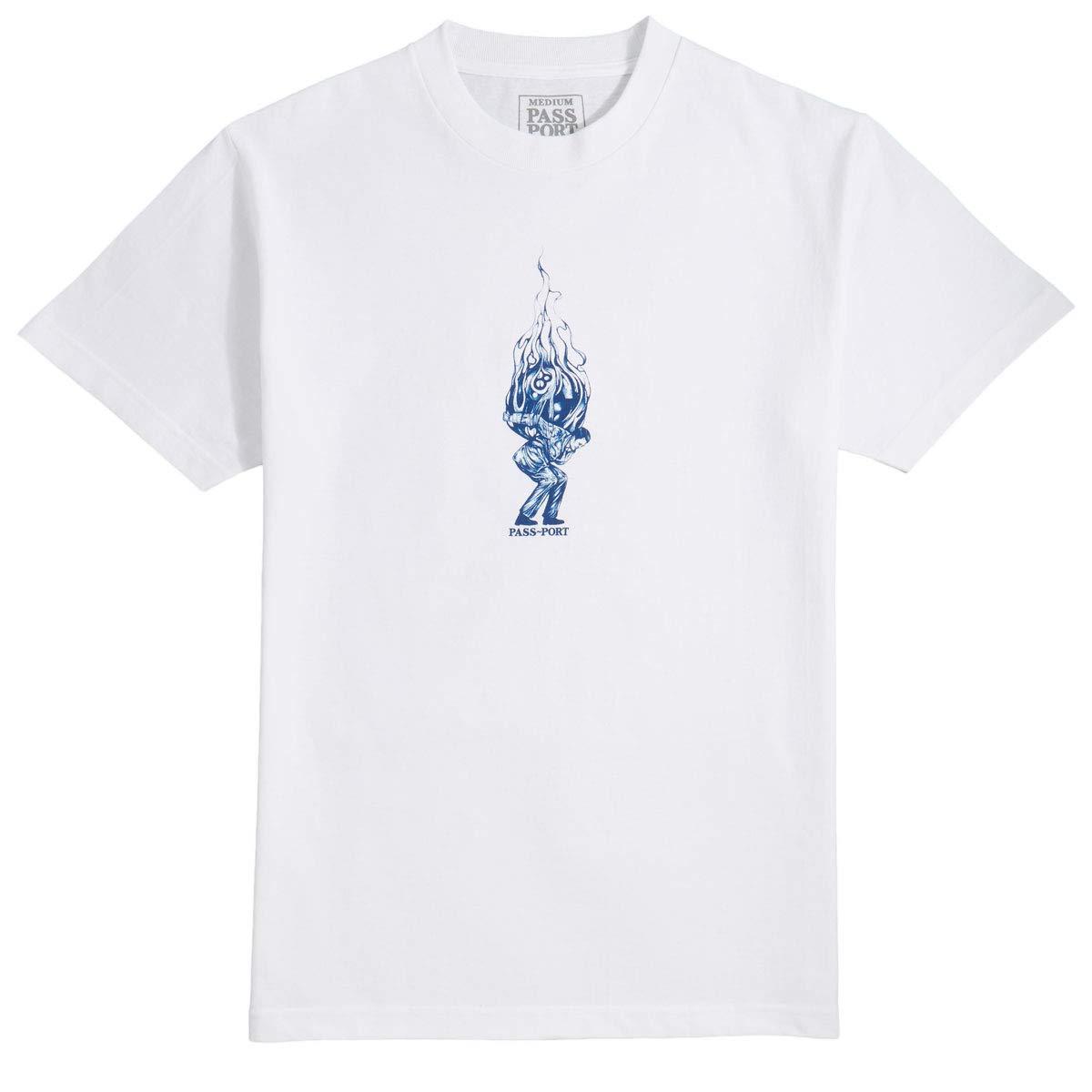 White Passport Burning Pool Man T-Shirt