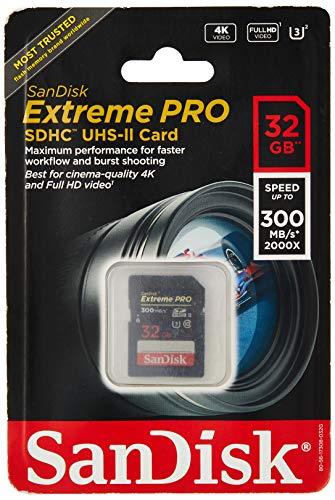 Sandisk Extreme Pro - Flash Memory Card - 32 GB - SDHC UHS-II - Black