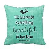 He Has Made Everything Beautiful Bible Verse Pillow Case 18″ * 18″