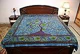 Sarjana Handicrafts King Size Cotton Flat Bed Sheet Floral Bedspread Bedding (Dark Blue)