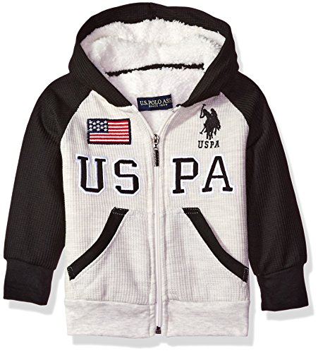 U.S. Polo Assn. Little Boys' Toddler Sherpa Lined Thermal Hoodie, Oatmeal Heather, 3T (Polo Hooded Sweatshirt compare prices)