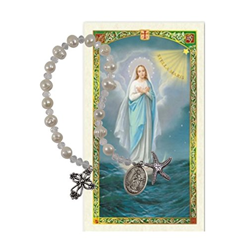 Our Lady Star of The Seas Stella Maris Cultured Freshwater Pearls Holy Chaplet with Silver Oxidized Findings and Blessed Laminated Italian Holy Card with Gold Accents (White)