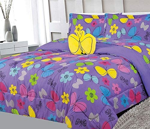 6 Piece Twin Size Kids Girls Teens Comforter Set Bed in Bag with Shams, Sheet set and Decorative Toy Pillow, Butterfly Print Purple Lilac Pink Yellow Girls Kids Comforter Bedding w/Sheets,T Butterfly