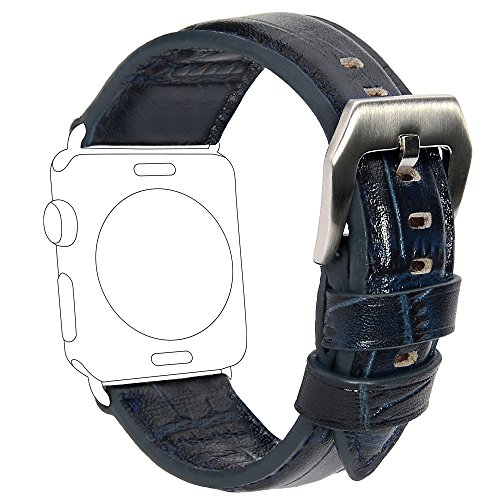 iWatch Band 38mm, COCASES Premium Vintage Genuine Leather Replacement Watchband with Metal Clasp Buckle for Apple Watch Band All Version (Navy Blue) Navy Blue Leather Band