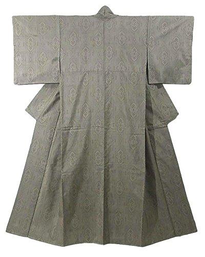 端末場合達成可能リサイクル 着物 紬  装飾模様 緯絣 裄62cm 身丈156cm