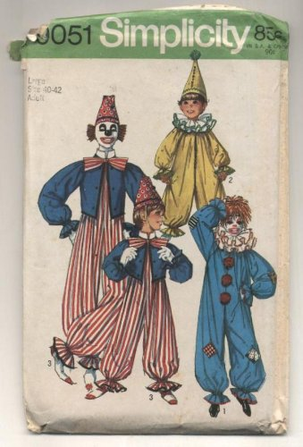 Vintage Simplicity Clown Costume Sewing Pattern #9051 Size MEDIUM 36-38