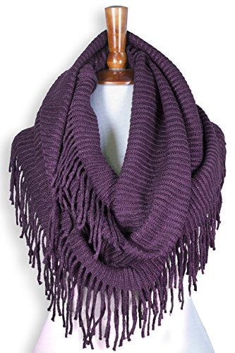 Basico Women Winter Warm Knit Infinity Scarf Tassels Soft Shawl Various Colors (G70 Violet)
