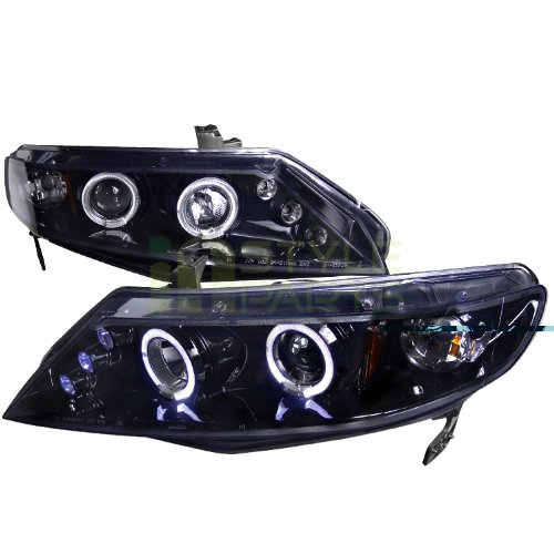 Civic Dual Halo Projector Headlights - Spec-D Tuning 2LHP-CV064G-TM Honda Civic Dual Halo Led Glossy Black 4Dr Sedan Projector Headlights