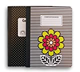 Flower and Dot Patterned Wide Ruled 100 Sheets Composition Notebooks - (Pack of 2)