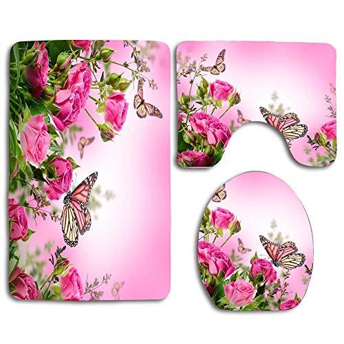 zhurunshangmaoGYS Roses Flowers Pink Butterflies Cute Soft Comfort Bathroom Mats Anti-Skid Absorbent Toilet Seat Cover Bath Mat Lid Cover 3pcs Set