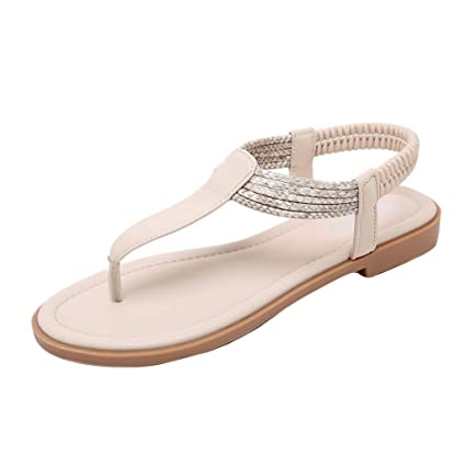 bb03e29171a71c Amazon.com  Women Clip Toe Low Heel Flat Sandals Ladies Classics Elastic  Band Strap Beach Shoes Fashion Summer Casual Comfort Flip Flops  Home  Improvement