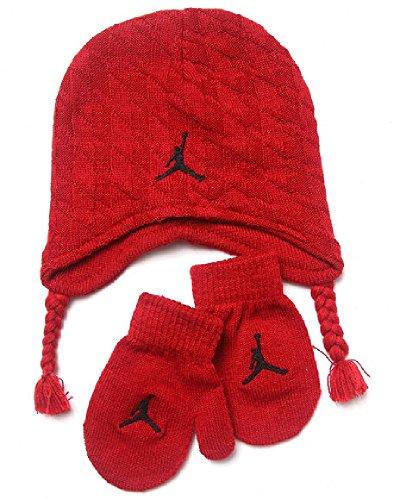 NIKE Jordan Toddler Boy's 2/4T Cable Knit Beanie Hat & Mittens Set -