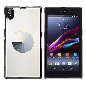 "For Sony Xperia Z1 Case , Gráfico circular gris abstracta minimalista gris"" - Diseño Patrón Teléfono Caso Cubierta Case Bumper Duro Protección Case Cover Funda"