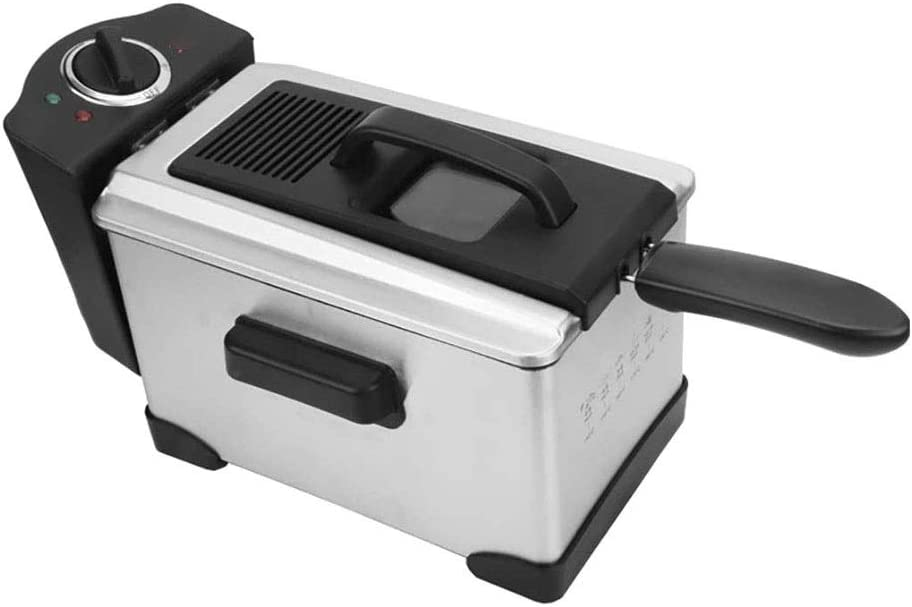 LKNJLL Stainless Steel Lean Deep Fryer with Filtration System, 2.5-Liter, Silver