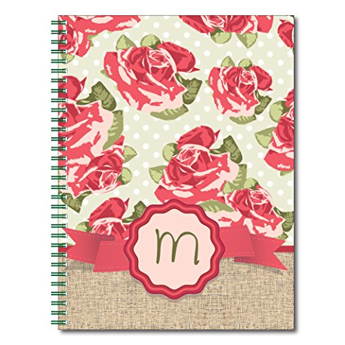 Rose Garden Personalized Monogram Floral Spiral Notebook / Journal, 120 Wide Ruled or Checklist Pages, durable laminated cover, and wire-o spiral. 8.5x11 | 5.5x8.5 | Made in the (Covered Journal)