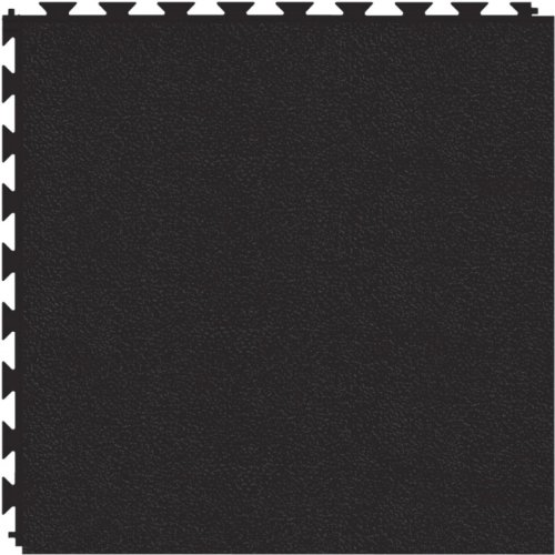 Tuff-Seal Prime Patented Hidden Interlock, Commercial Quality Vinyl Floor Tile (No Adhesive Necessary), Surface: Smooth, Color: Black