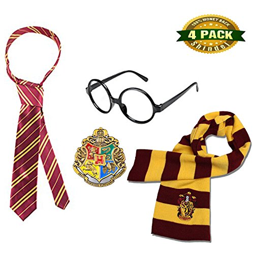 Diy Eskimo Costume (Harry Potter Striped Knit Scarf Striped Tie with Novelty Glasses & College Badge for Cosplay Costumes Accessories Christmas Present, 4 PCS)