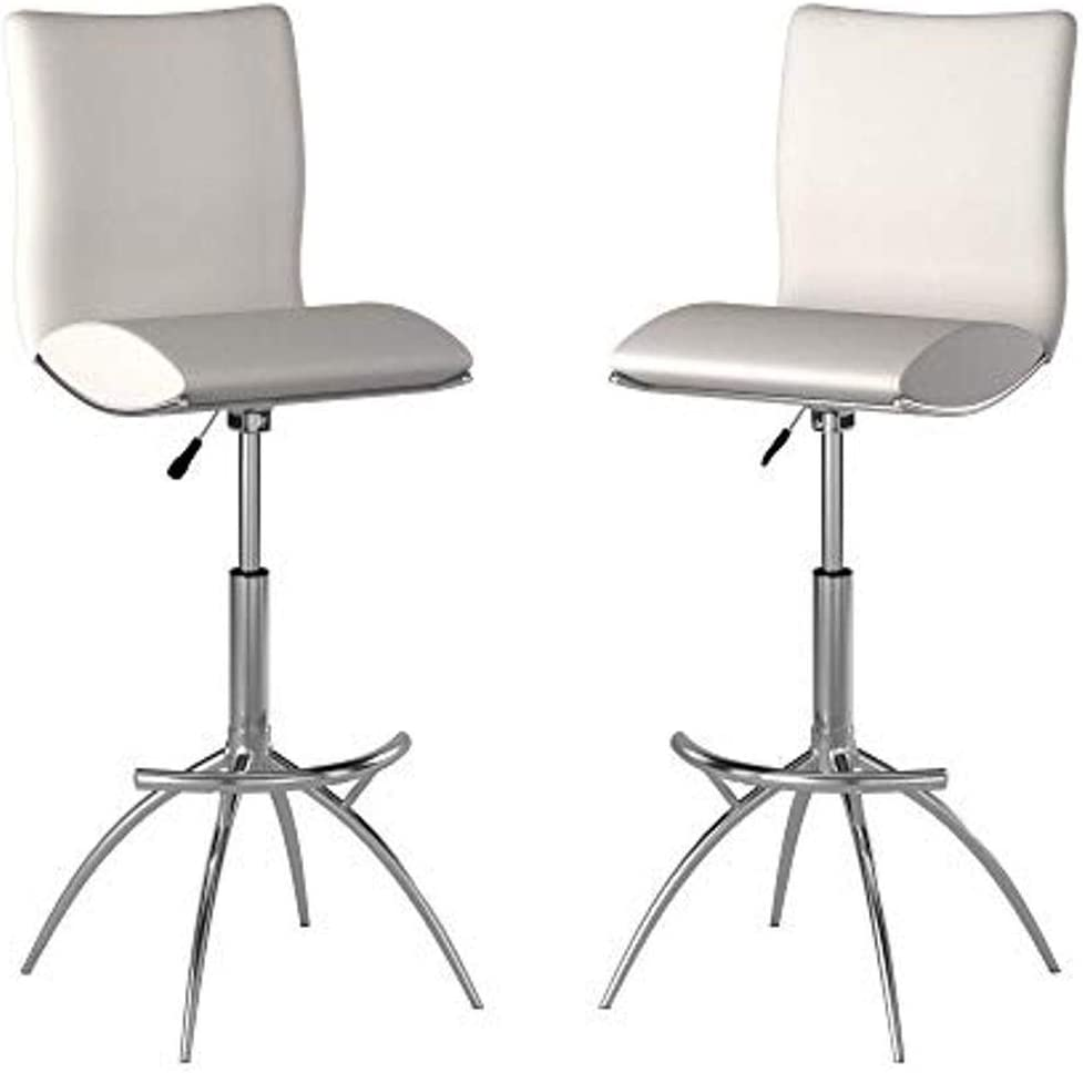 Neos Modern Furniture Minimalist Collection Height Adjustable Swivel Leatherette Bar Stool with Cushion and Gas Lift, Set of 2, White (S6049WH)