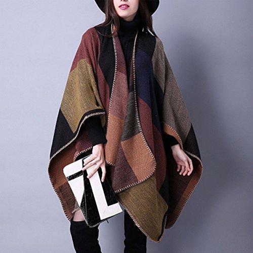 Châle Grand Jaune Pour Foulard Aivtalk Hiver Poncho Femme Tartan Chaud Couverture Automne I1ddqwR