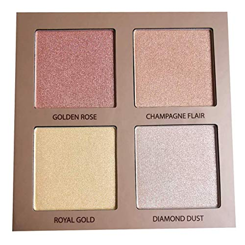 Highlighter Palette Highlighter Makeup Iluminador - Glow Bronzer Powder Makeup Highlighter Kit With Mirror - 4 Highly Pigmented Face Highlighter Shimmer Colors - Vegan, Cruelty Free & Hypoallergenic