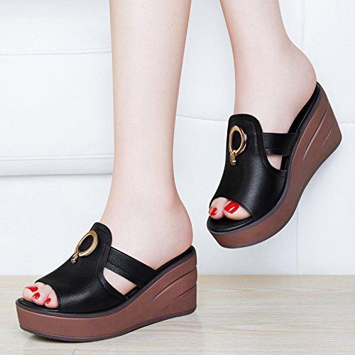 Sandales Nouvelle Mode Xing Chaussures De Pente 35 Liège Black Avec Style Épaisse Japonais Semelle À Été Chaussures white Femmes Usure Pantoufles Guang 39 Des ZTqf6