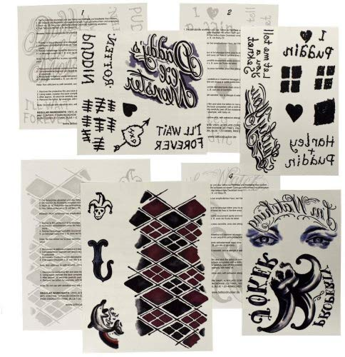 1 x HQ XL Tattoo set of 4 sheets - 22 Temporary Face, Back, Waist, Leg Body Costume Tattoos - Cosplay (1) -