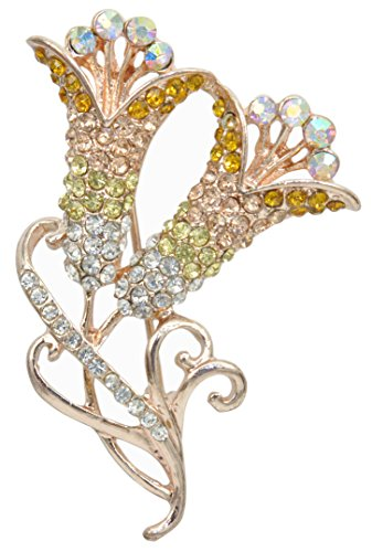 (Gyn&Joy Tulip Brooches Pins with Yellow Crystal in Gold Finish BZ042 )
