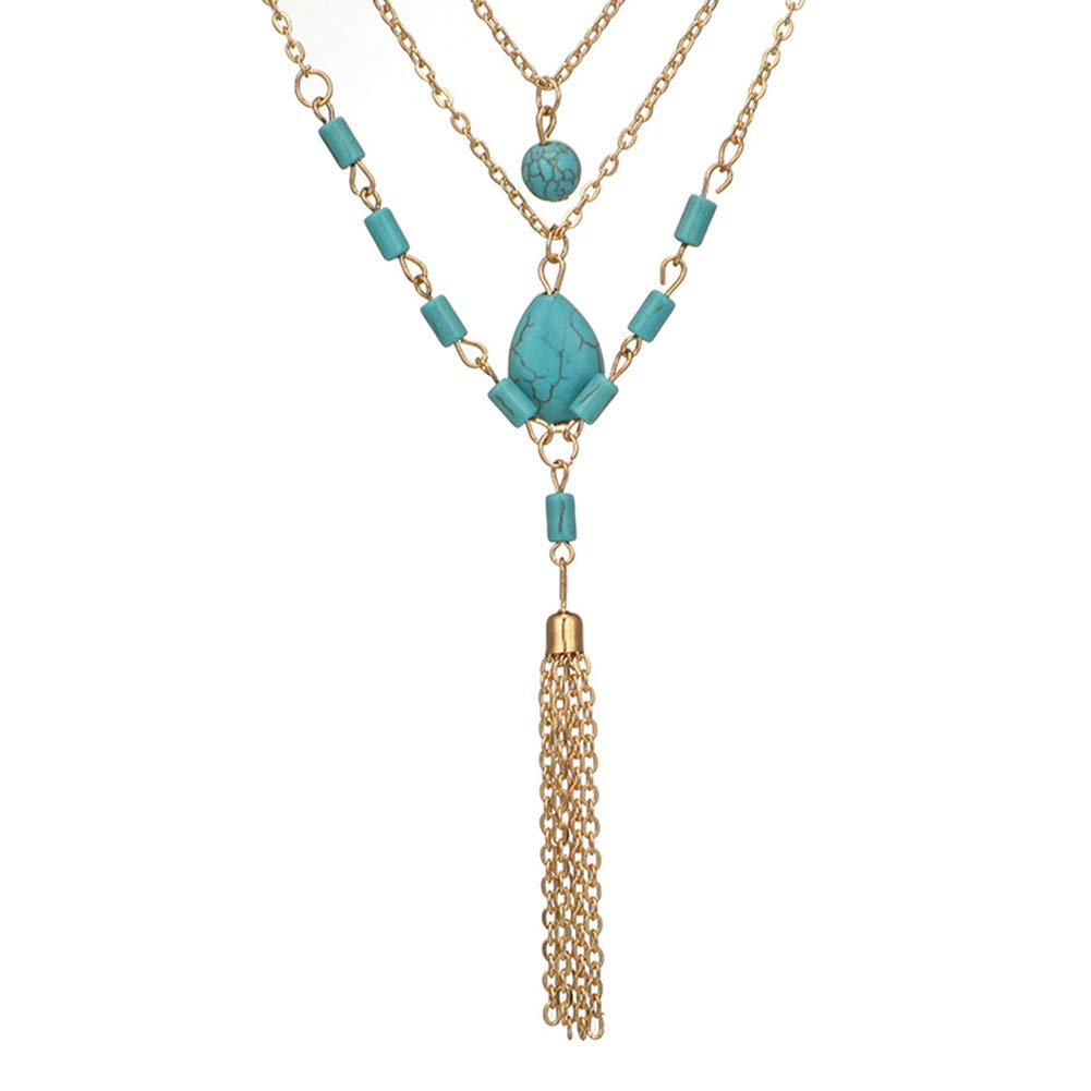 Everrikle Necklaces for women,Bohemia Women Multilayer Faux Turquoise Pendant Tassel Chain Necklace Jewelry,Mother's Day, Valentine's Day, Christmas, Holiday Gifts by Everrikle (Image #4)