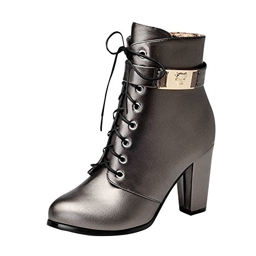 Mee Shoes Womens Fashion High-heel Lace-up Ankle-high Boots Taupe