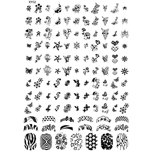 Nail Stamping Plates Halloween Nail Art Stamp Template Ghost Bat Flowers Image Stamp Plate NO.2 by (No Tool Halloween Nail Art)