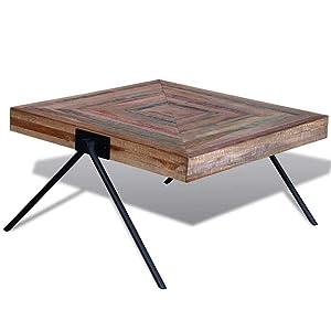 vidaXL Table Basse Table de Salon Teck recyclé avec Pieds V Table d'appoint