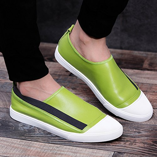 TDA Boys Mens Fashion Slip-On Leather Driving Walking Loafers Casual Shoes Green NEwwa