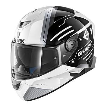 Shark Casco de moto Skwal 2 Warhen, color negro y blanco, talla M
