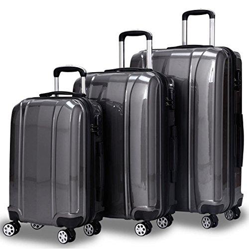 (Goplus 3Pcs Luggage Set, Hardside Travel Suitcase, 20