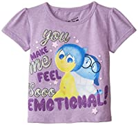 Disney Little Girls' Toddler Inside Out You Make Me Feel So Emotional Bubble Short Sleeve T-Shirt, Lilac, 3T