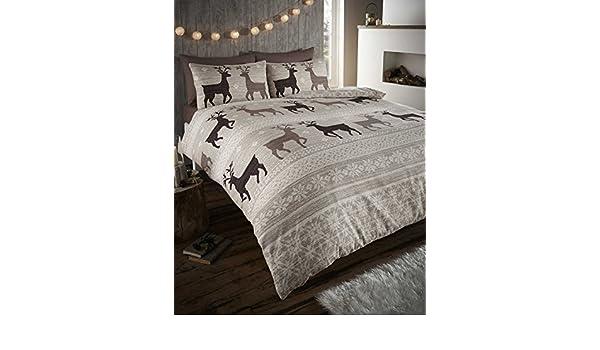 Amazon.com: Helsinki Winter Stag Fair Isle 100% Brushed Cotton ...