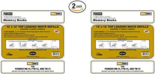 """Pioneer Post Bund Top Loading Page Protectors with White Inserts, 12 by 12-Inch, 5-Pack ((2 Pack) 12"""" X 12"""")"""