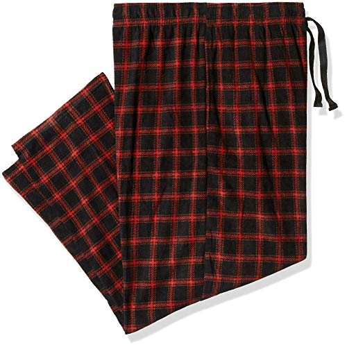 Fruit of the Loom Men's Microfleece Sleep Pant, Oxford red Plaid Large