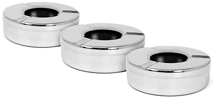 9 opinioni per COM-FOUR® 3X Posacenere in Acciaio Inox con Coperchio Removibile 11 x 3,5 cm-